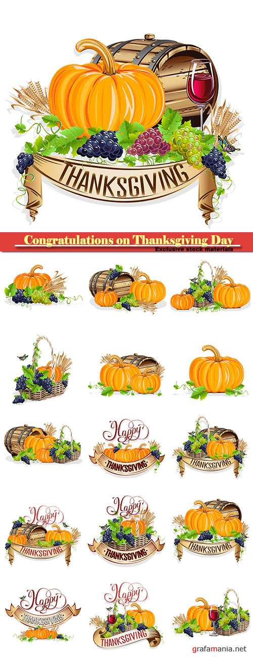 Vector set congratulations on Thanksgiving Day