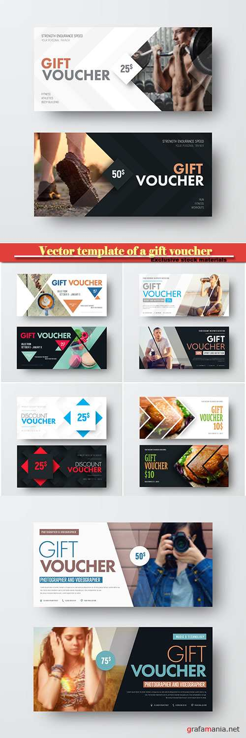 Vector template of a gift voucher with diagonal lines and a place for a photo