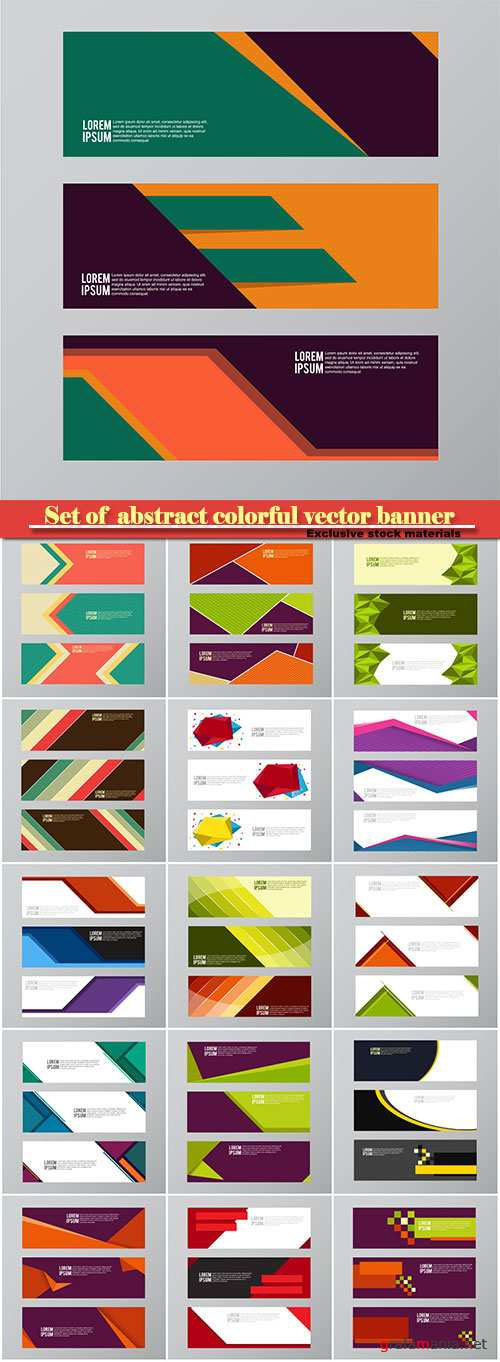 Set of  abstract colorful vector banner background