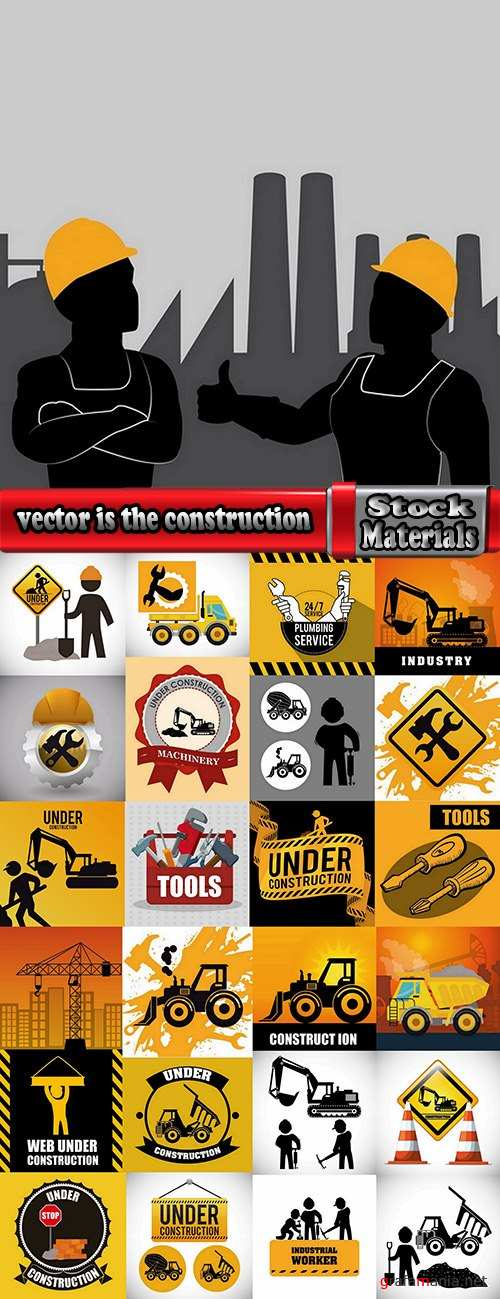 vector picture background is the construction of a builder working construction tools 25 EPS