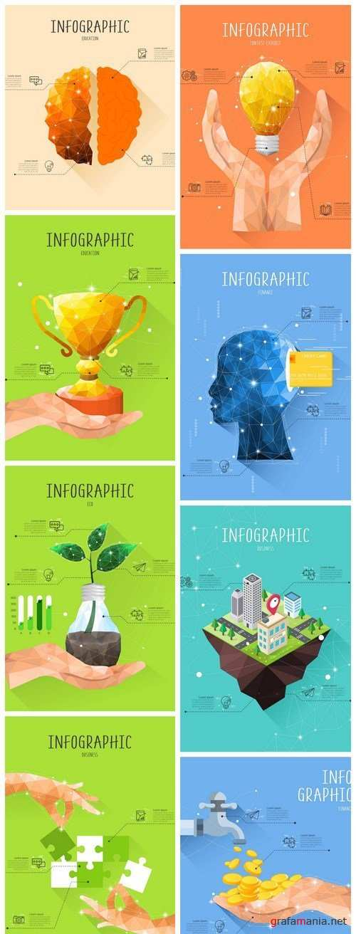 Low Poly Infographics - 8 Vector