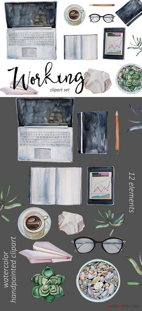 Watercolor Working Clipart Set 1783048