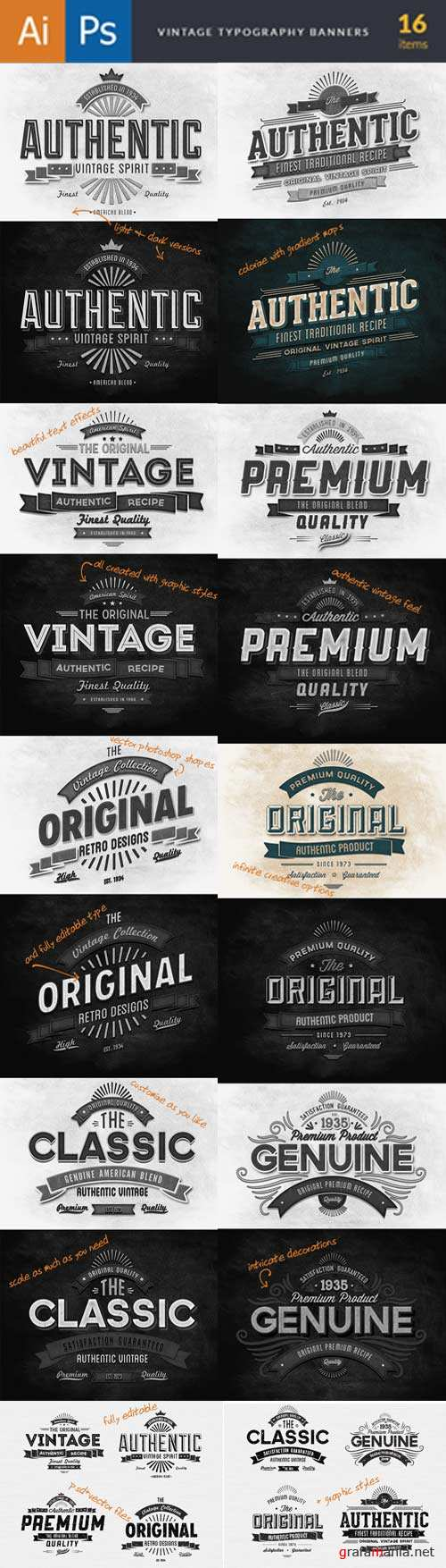 Super premium vintage typography V1 Type Banners