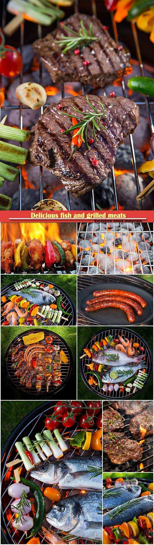 Delicious fish and grilled meats with vegetables