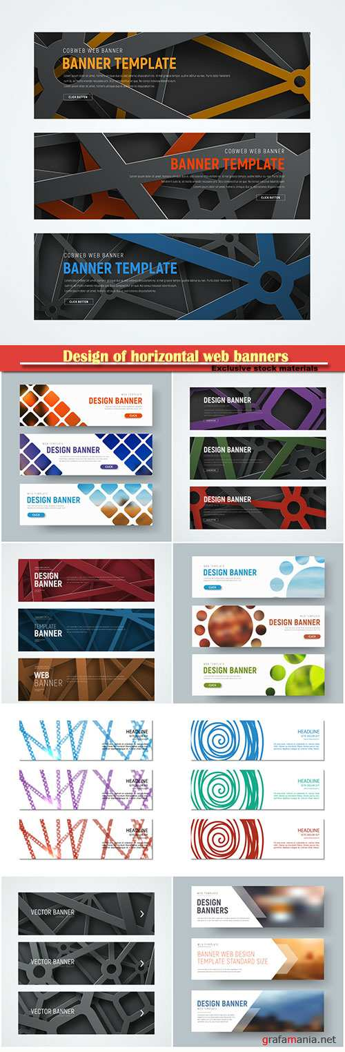 Design of horizontal web banners with intersecting geometric shapes in the air on the background