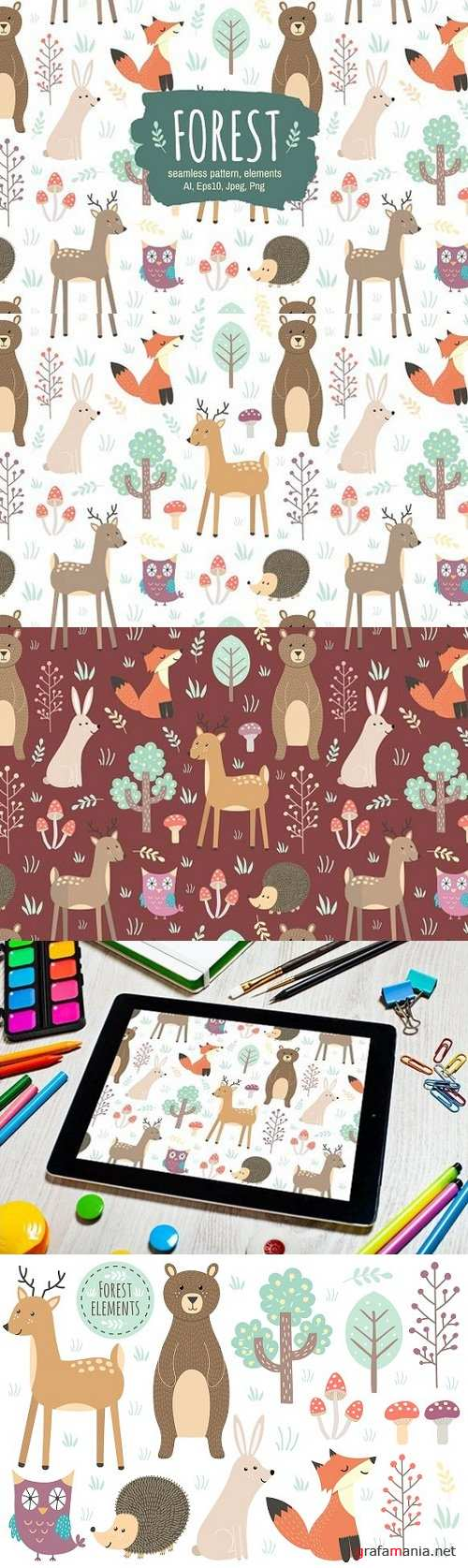 Forest: seamless pattern & elements 1414599