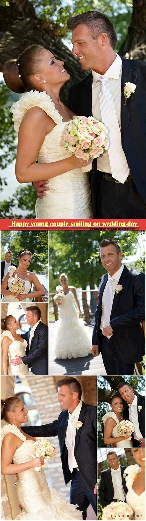 Happy young couple smiling on wedding-day