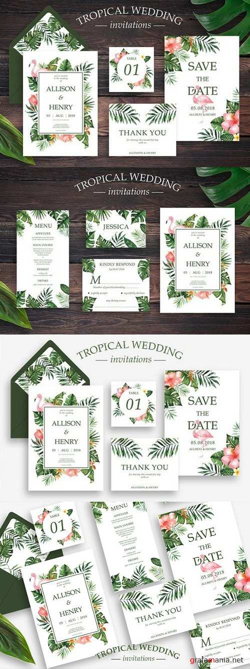 Tropical Wedding Invitation Suite 1807938