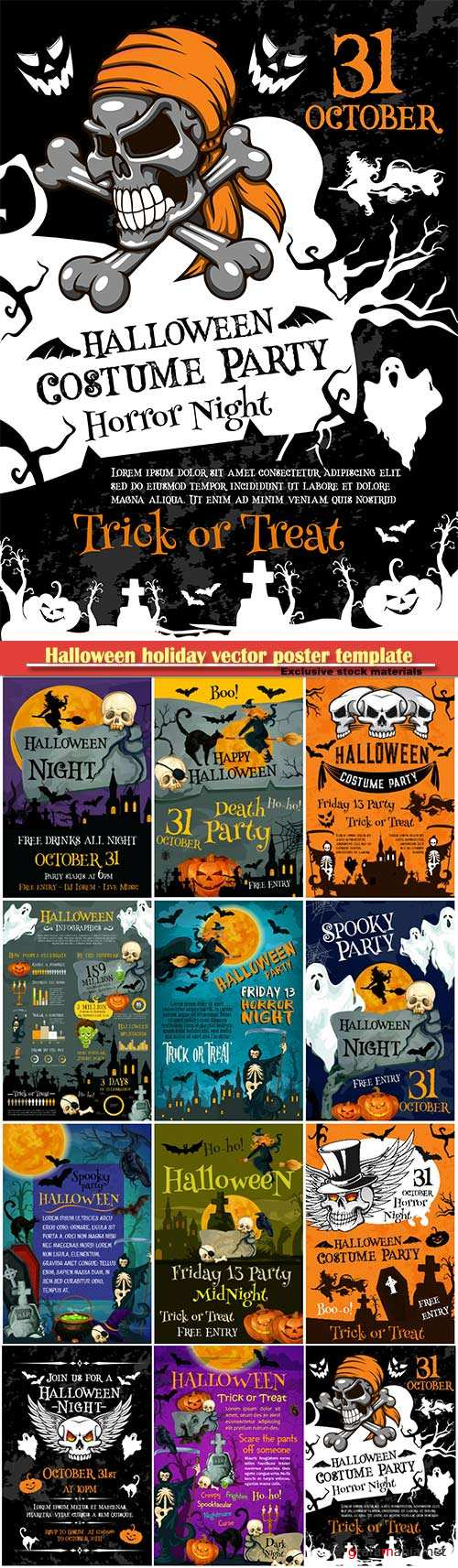 Halloween holiday vector poster template, scary pumpkin lantern and bat, spooky skeleton skull and death scythe, black cat and spider web on cemetery grave banner for october holiday design
