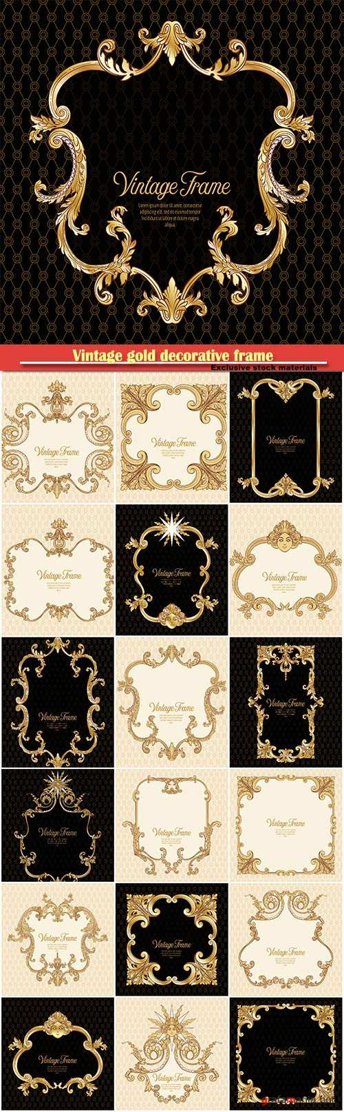 Vintage gold decorative frame in rococo style for menus, ads, advertisements, labels
