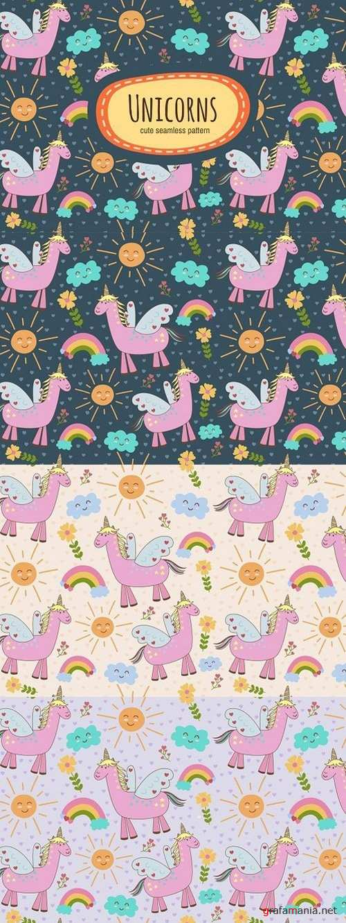 Cute Unicorns: seamless patterns 1704010