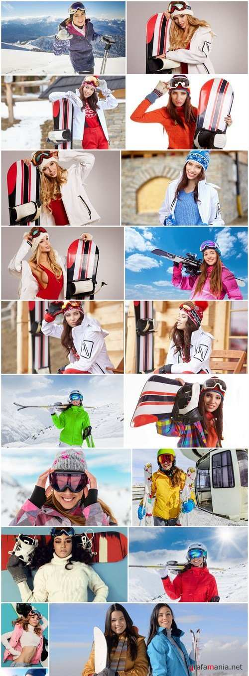 Beautiful Girls Snowboarders - 20 HQ Images