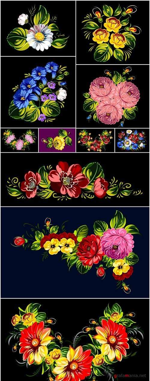 Bouquet Of Flowers Painted - 11 Vector