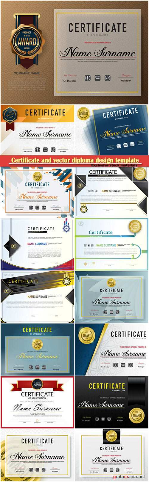 Certificate and vector diploma design template # 42