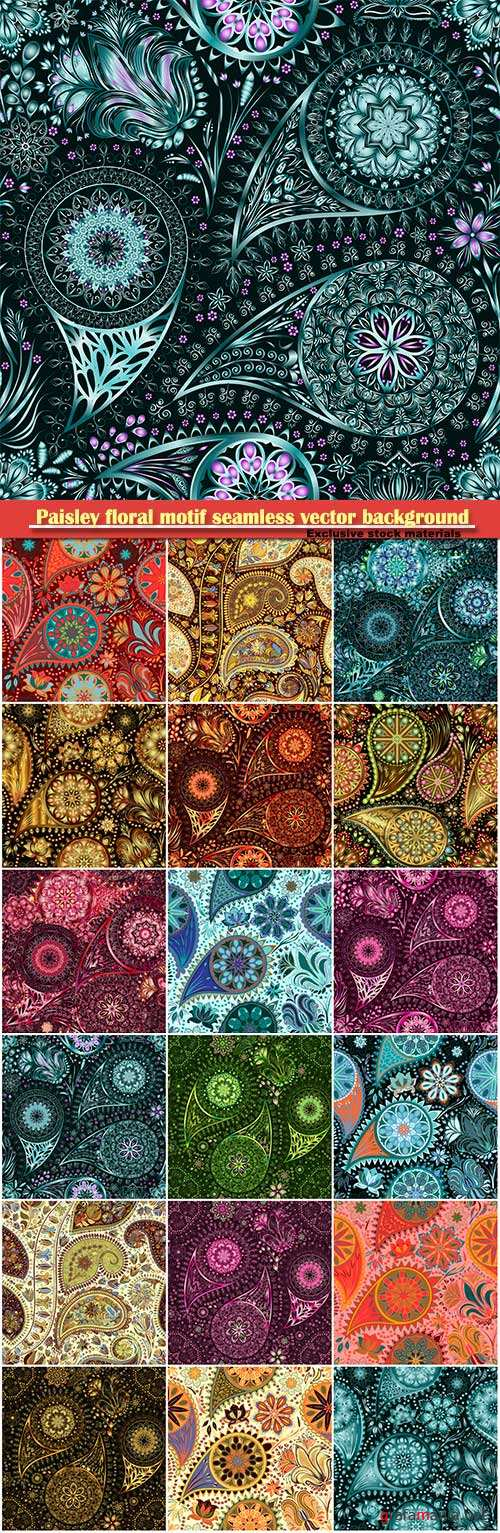 Paisley vintage floral motif ethnic seamless vector background