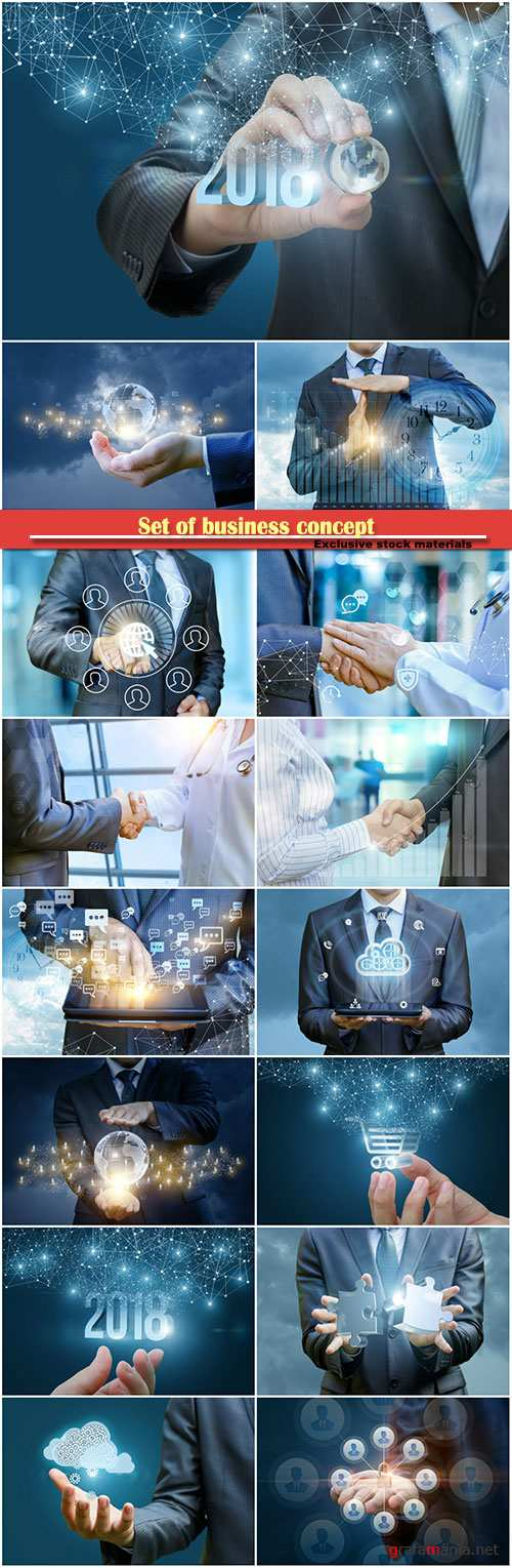 Set of business concept, handshake on the background of profit growth, hand with holding a globe on a background 2018, network users, businessman chatting on tablet
