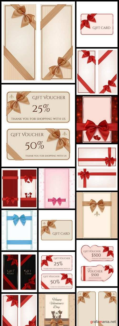 Gift Card With Ribbon - 20 Vector