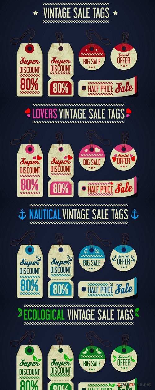 Vintage Sale Tags - 4 Vector