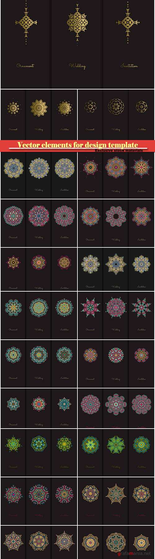 Vector elements for design template, ornate decor for invitations, greeting cards, certificate, labels, badges, tags