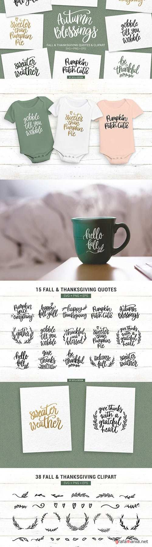 Fall Thanksgiving SVG Quotes Clipart 1761885
