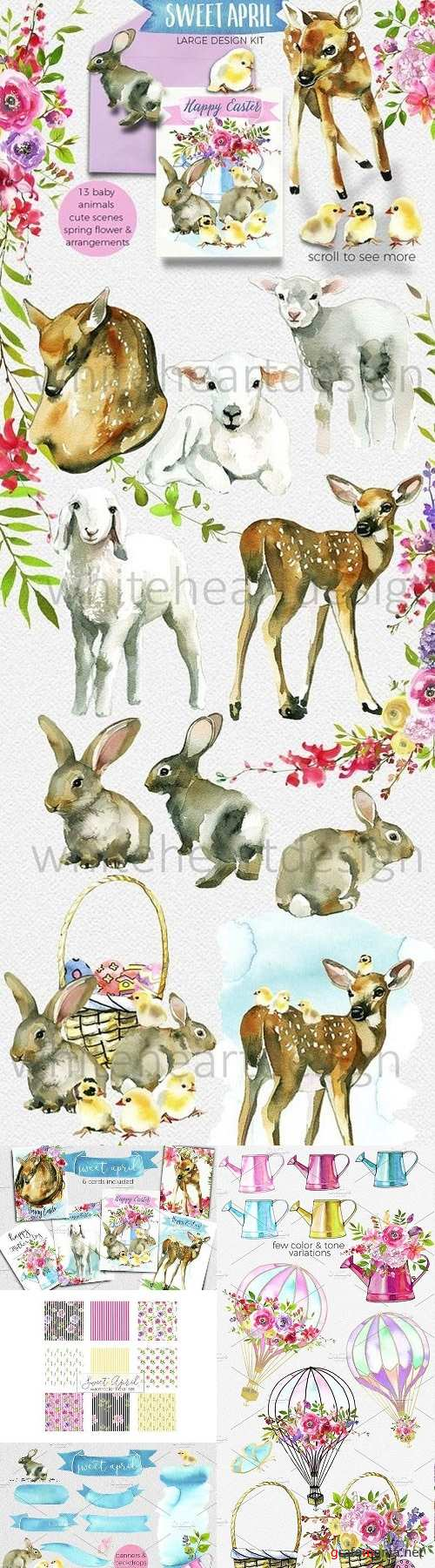 Easter Animals Flowers Clipart 1305202