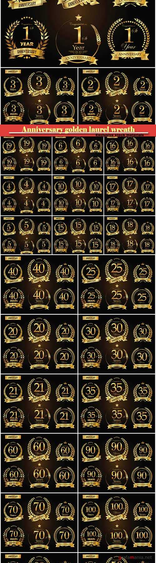 Anniversary golden laurel wreath  years vector collection