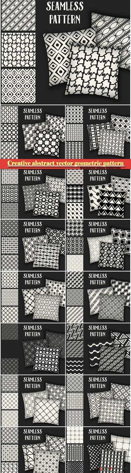 Creative abstract concept vector monochrome geometric pattern