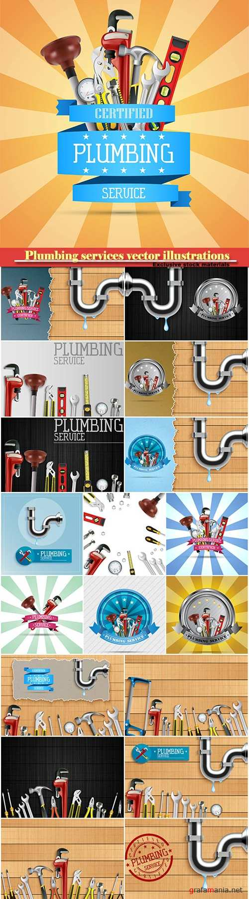 Plumbing services vector illustrations