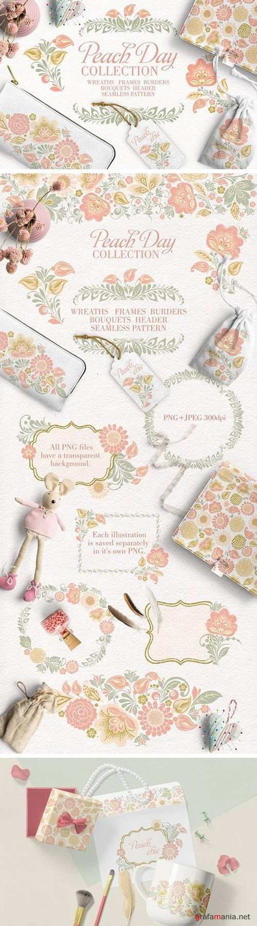 Peach Day glitter floral collection 1772360