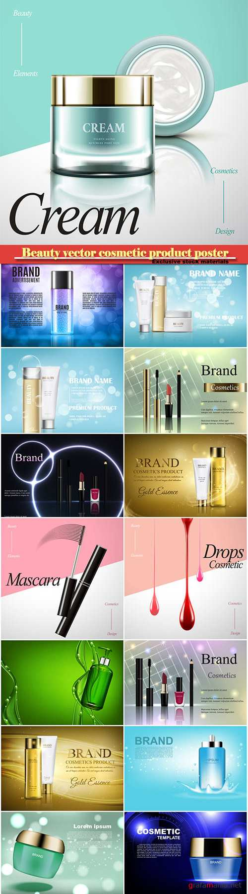 Beauty vector cosmetic product poster # 22