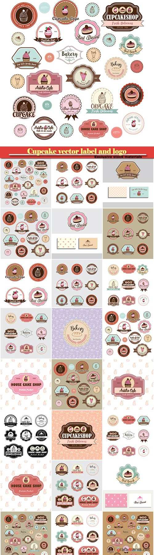 Cupcake vector label and logo illustration