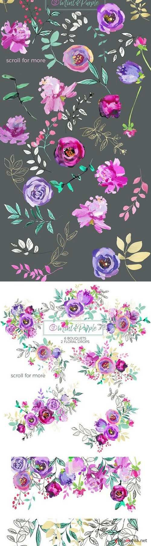 Mint and Purple Watercolor Flowers 1252969