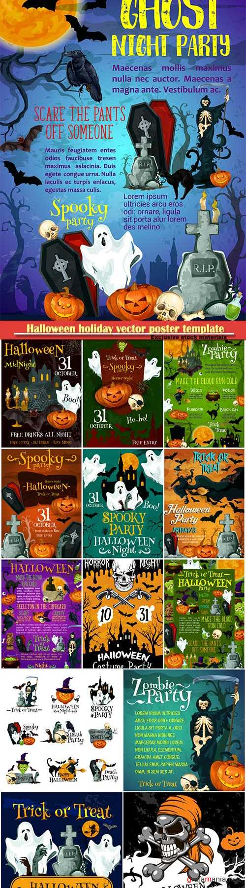 Halloween holiday vector poster template, pumpkin with witch hat, spider and skull, flying bat and ghost, creepy skeleton with scythe, cemetery and zombie