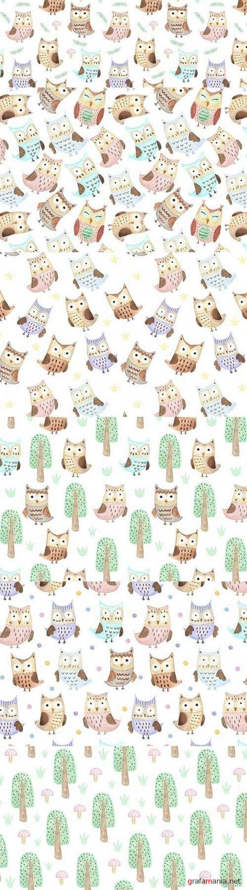 Watercolor Owls: patterns & cards 882340