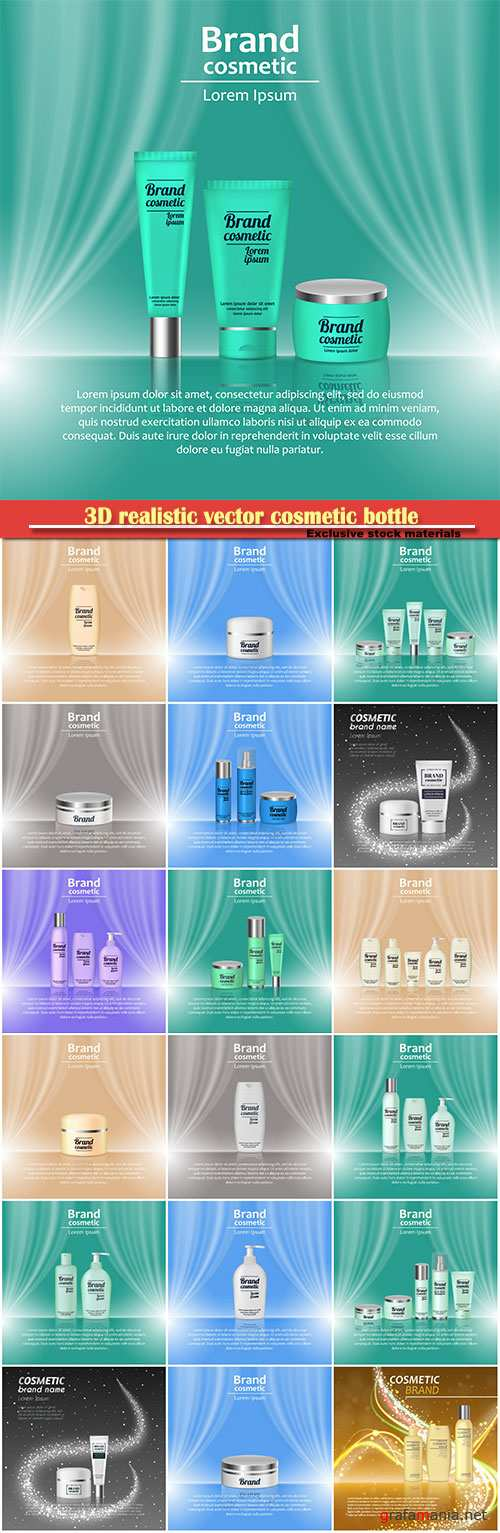 3D realistic vector cosmetic bottle ads template, cosmetic brand advertising concept design