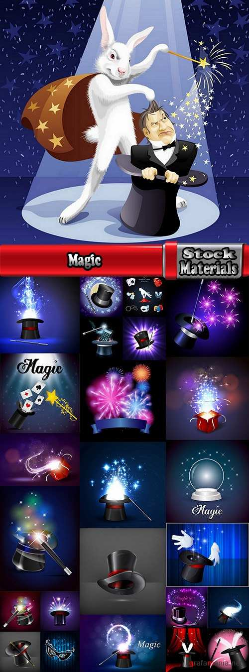 Magic focal point wonders representation cylinder hat with miracles 25 EPS