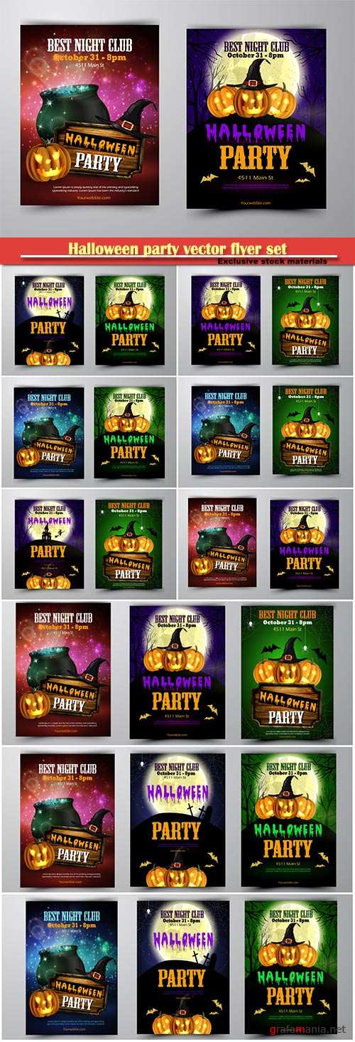Halloween party vector flyer set with pumpkins, hat, bats witch and cemetery vector