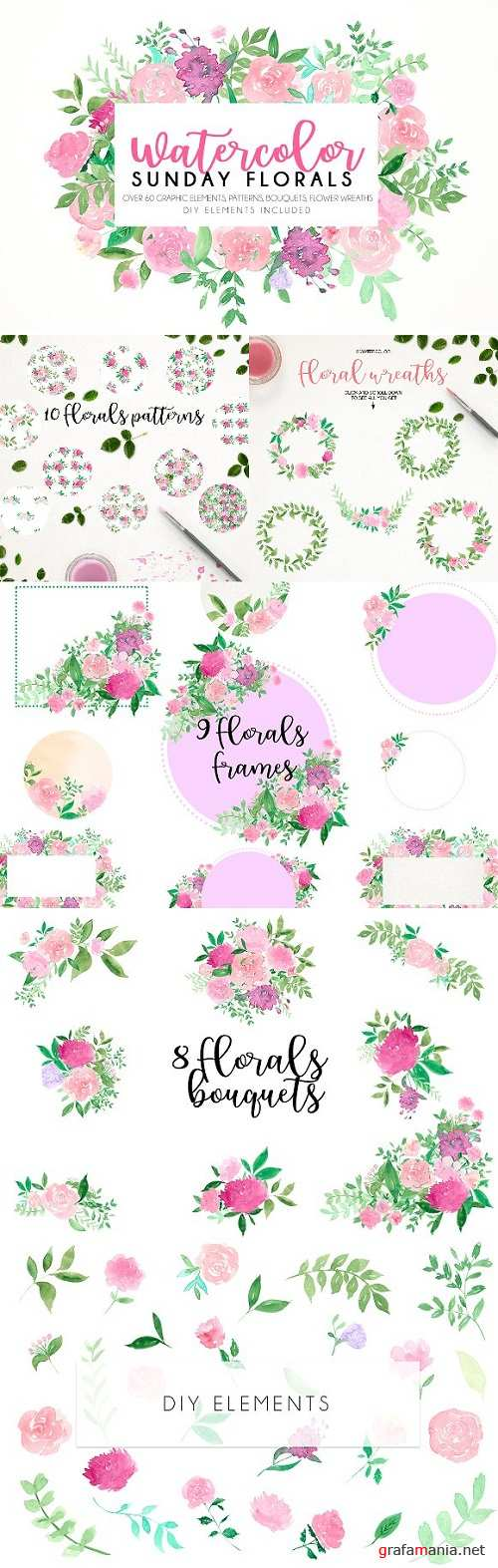 Watercolor Sunday florals - 1536419
