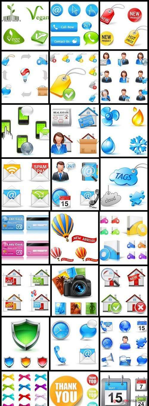 Different Business Pictogram Icons - 25 Vector