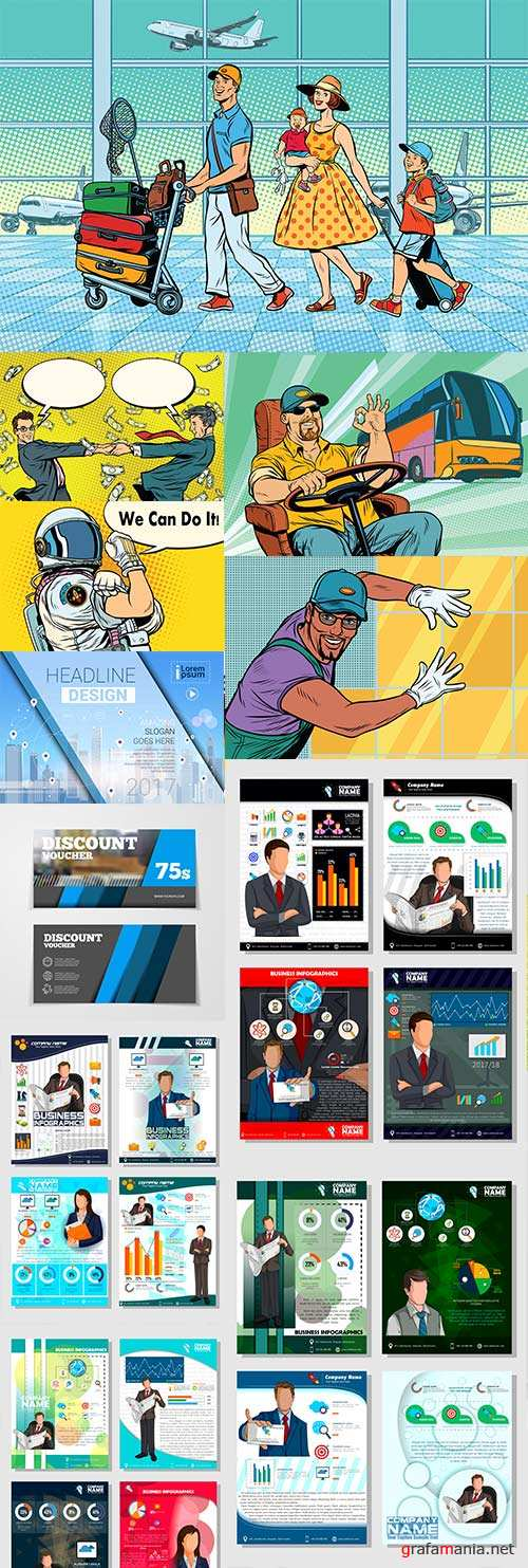 Business templates people and comic illustration big collection