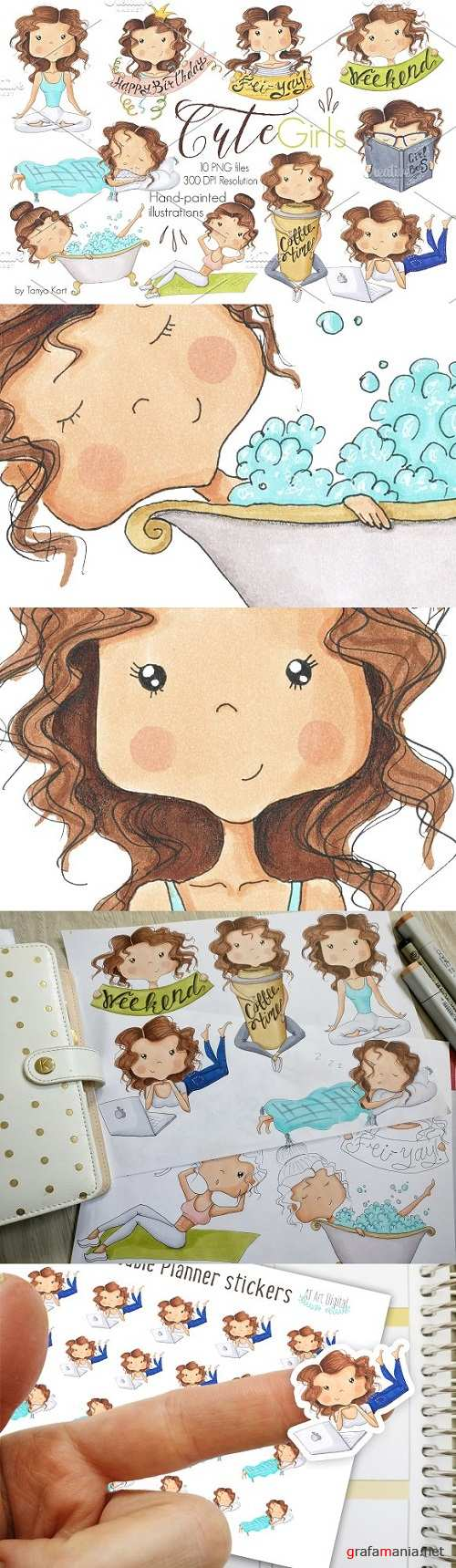 Cute Girls Hand-Painted Clipart - 1567705