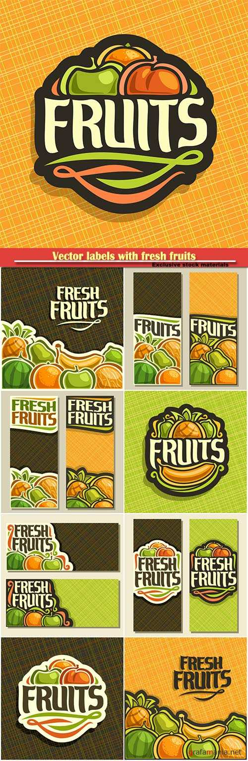 Vector labels with fresh fruits in vintage style