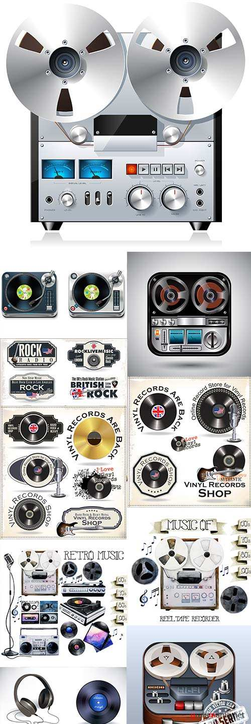 Retro music rock disco player and microphone