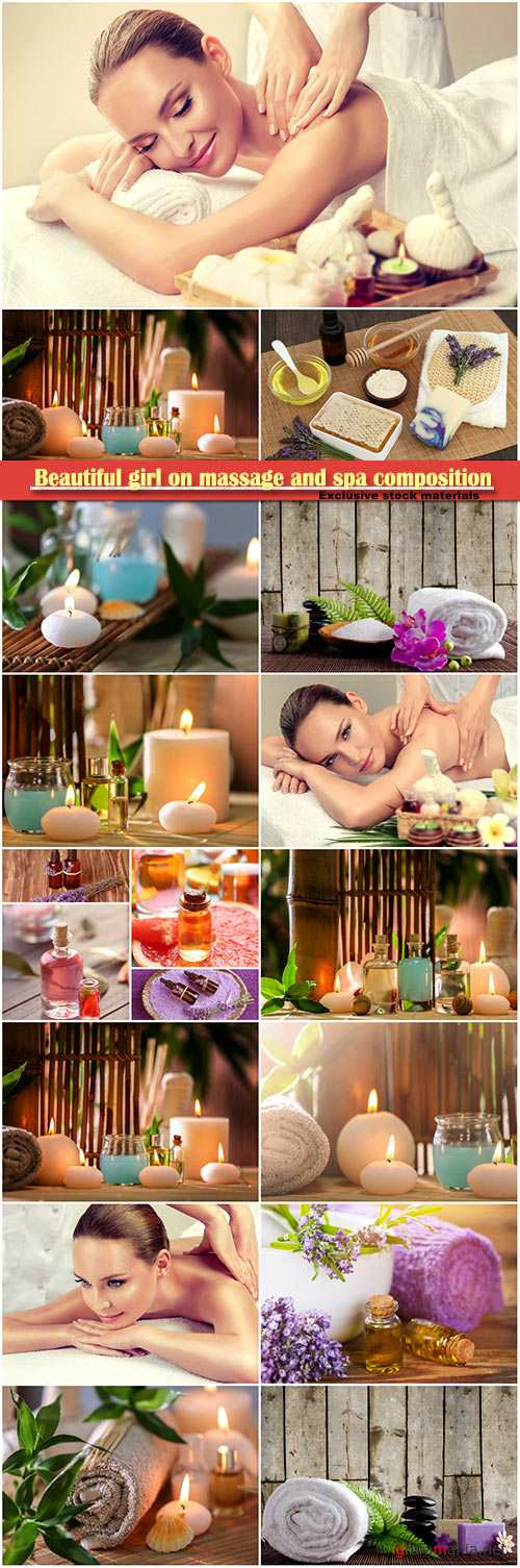 Beautiful girl on massage and spa composition