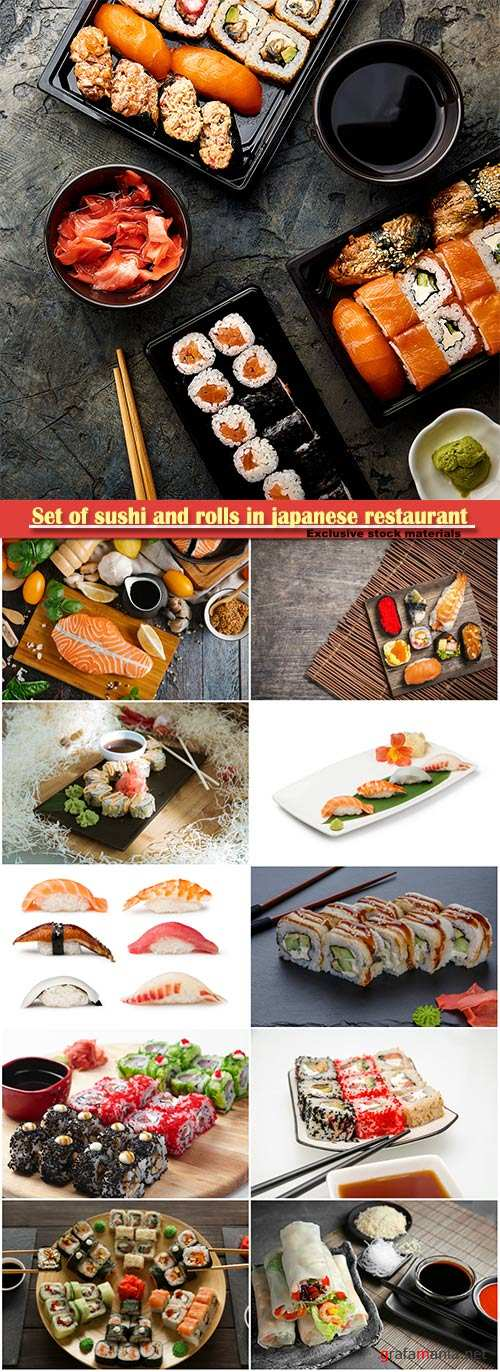 Set of sushi and rolls in japanese restaurant and fish