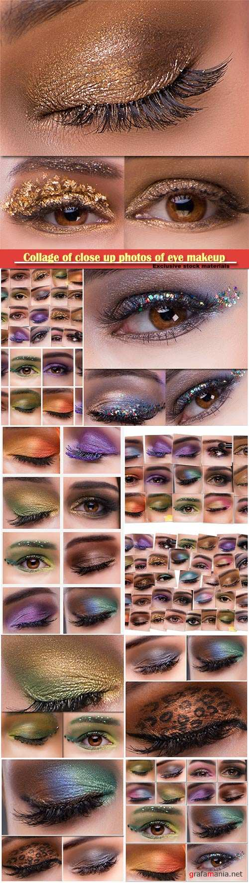 Collage of close up photos of eye makeup