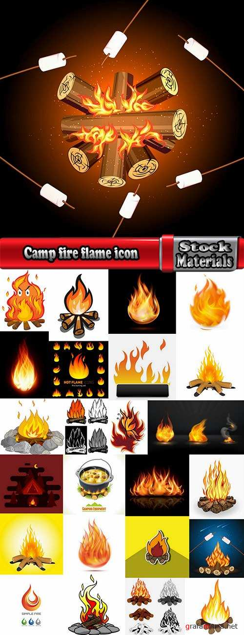 Camp fire fire flame icon vector image 25 EPS