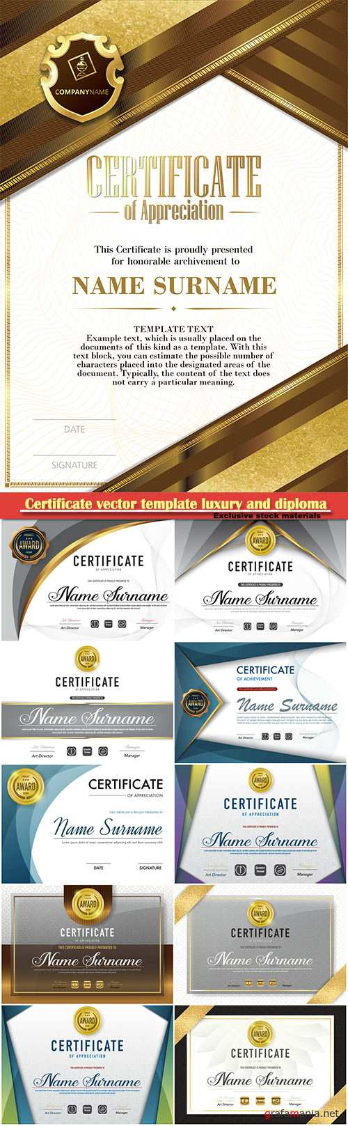 Certificate vector template luxury and diploma style