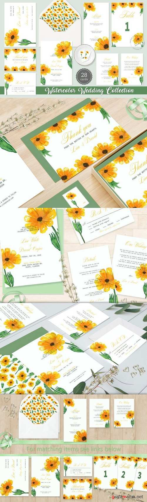 Sunflower Watercolor Wedding Suite 1934382
