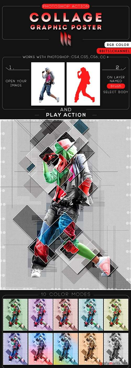 Collage Graphic Poster Photoshop Action 20731326